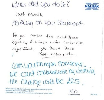 The note from Halifax Bank staff