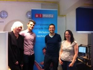 Max, Martin, Charlie and Sarah at the Ai-Media offices