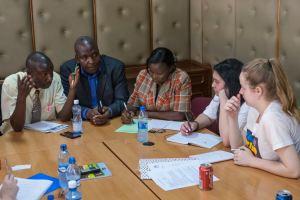 Jessica and Samina meeting the Kenyan National Union of Teachers in Nairobi.