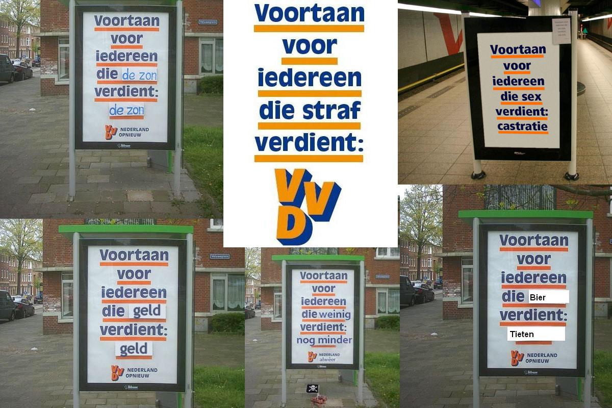 For non-Dutch readers: zon = sun; straf = punishment; geld = money; verdient = derserves & also earns; weinig = litlle; minder = even less; bier = beer; and least: tieten = tits, the rest is international enough to be understood