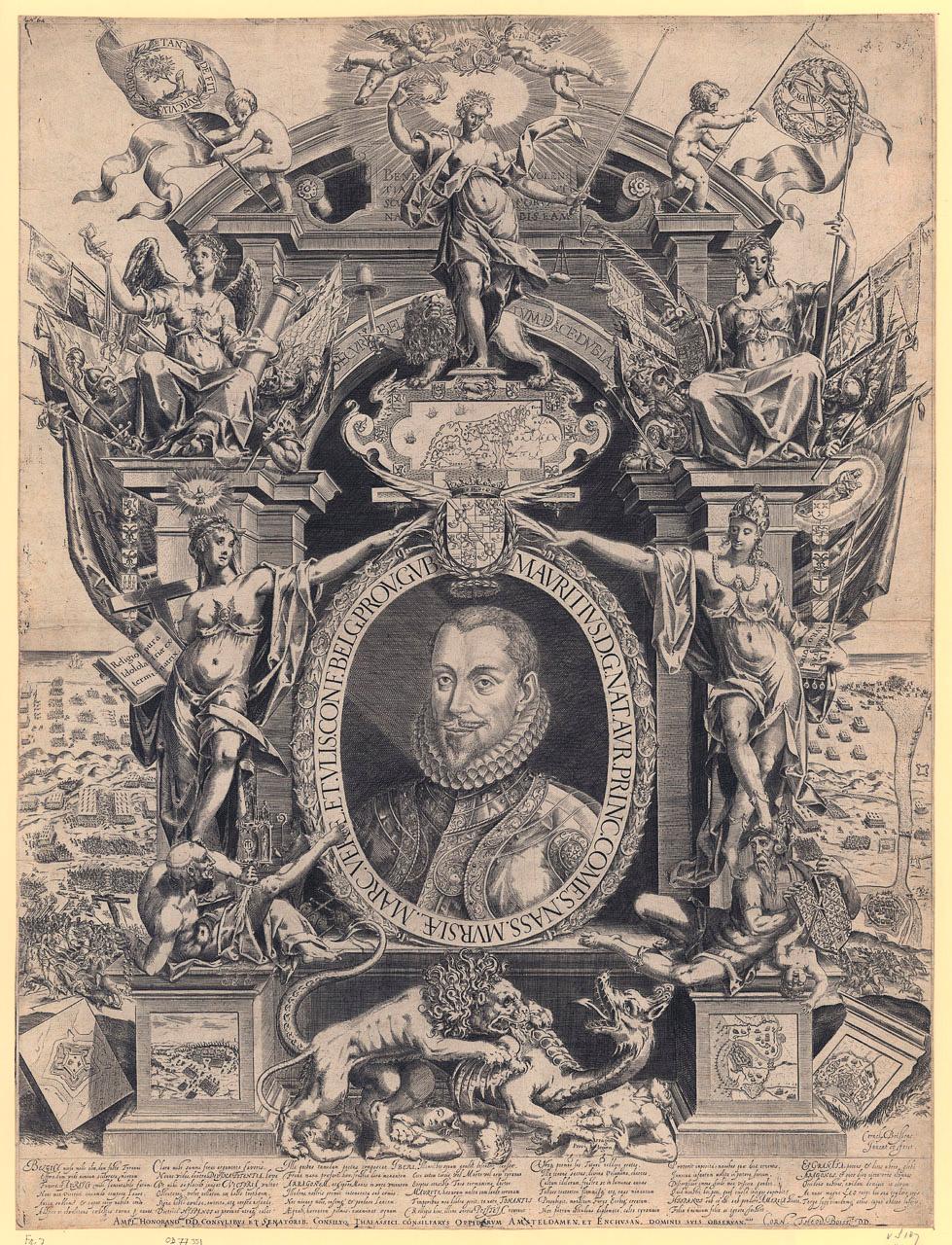 """Uit de collectie van het Rijksmuseum een  portret van Maurits met op de achtregrond en op de sokkels beelden van veldslagen, """"graaf van Nassau, prins van Oranje, in een allegorische omlijsting. Aan weerszijden van het portret Ware Religie die triomfeert over de Katholieke Kerk en Vrijheid die Tirannie of Geweld vertrapt. Boven andere zegevierende allegorische figuren."""""""