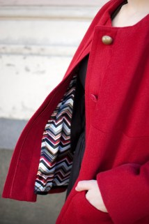 Red coat, mostly recycled