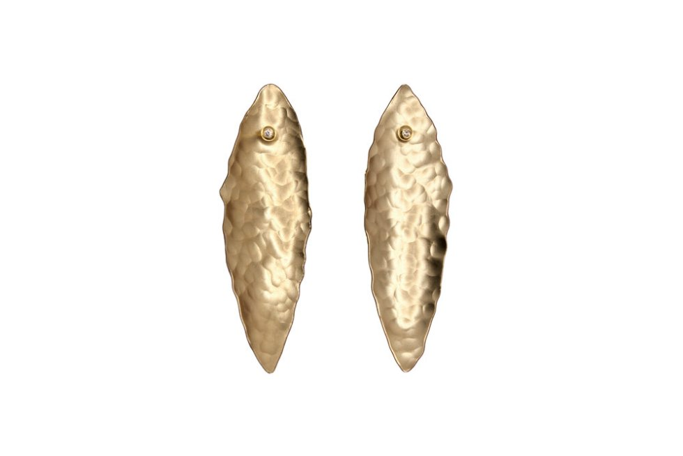 18k Gold and Hammered Brass Leaf Earrings Set with Diamonds