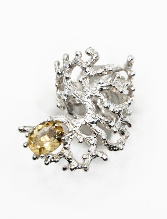 Silver Sculpture Ring with Oval Golden Citrine