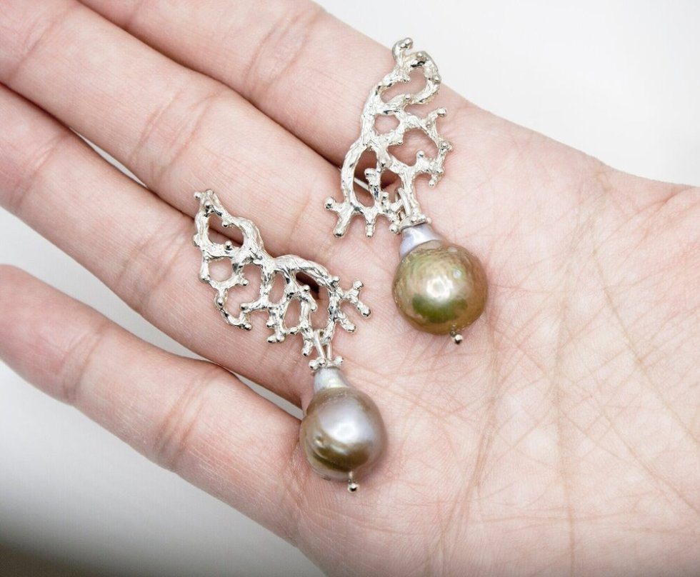 Medium Silver Sculpture Earrings with Fireball Pearl Drops