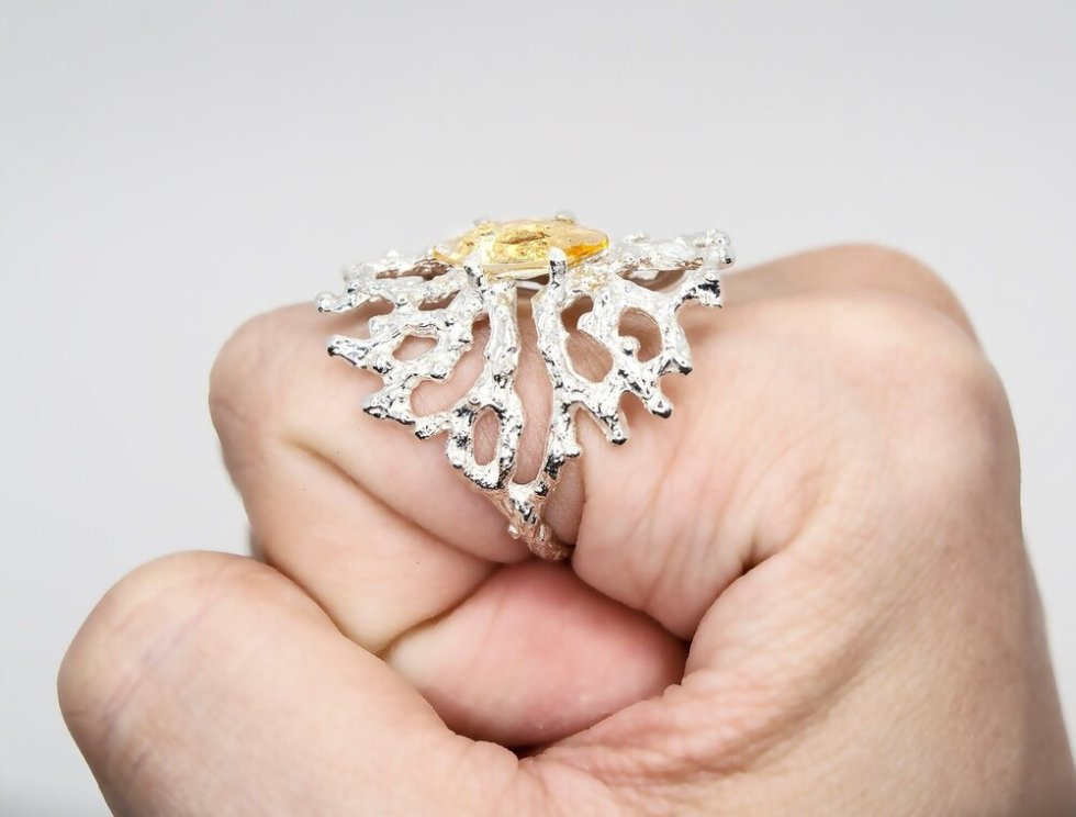Silver Sculpture Ring with Marquise Golden Citrine