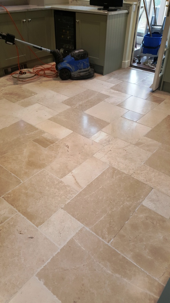 Travertine Kitchen Floor After Cleaning Lincoln