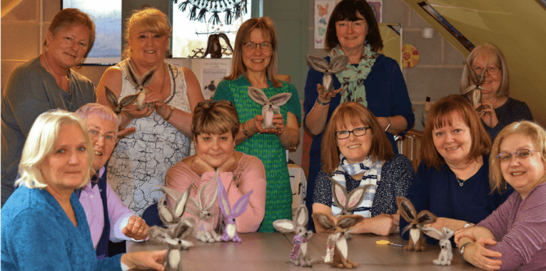ladies at needle felting workshop