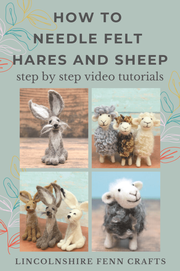 How to make needle felted hares and sheep - Easy step by step video tutorials from Lincolnshire Fenn Crafts. via @lincolnshirefen