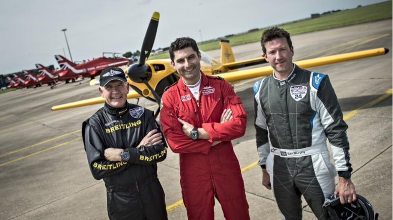 "(L-R) Nigel Lamb, Squadron Leader David ""Monty"" Montenegro and Ben Murphy. Photo: Red Arrows"