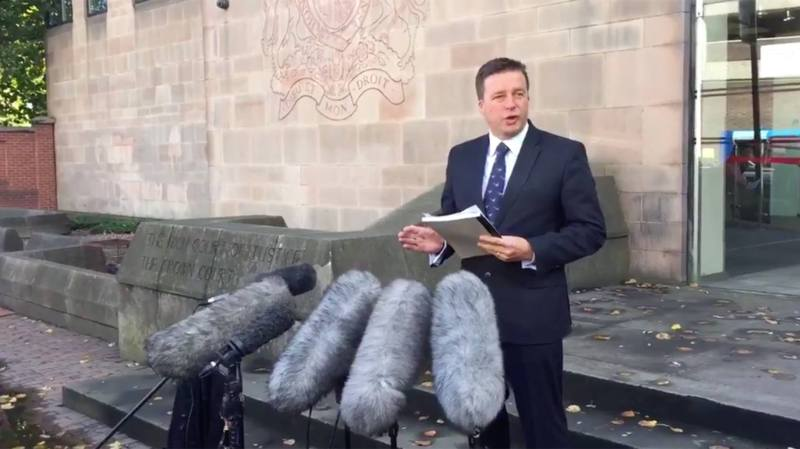 DCI Martin Holvey speaking outside Nottingham Crown Court following the Spalding double murder trial. Photo: Alex Rhodes/BBC Radio Lincolnshire