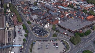 Lincoln Train Station and Lincoln's old Bus Station. Photo: Google Earth