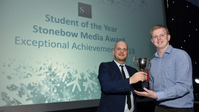 Daniel Ionesco, Managing Director of Stonebow media presented Thomas Smith with the Student of the Year Stonebow Media Award for Exceptional Achievement. Photo: Steve Smailes for Lincolnshire Reporter