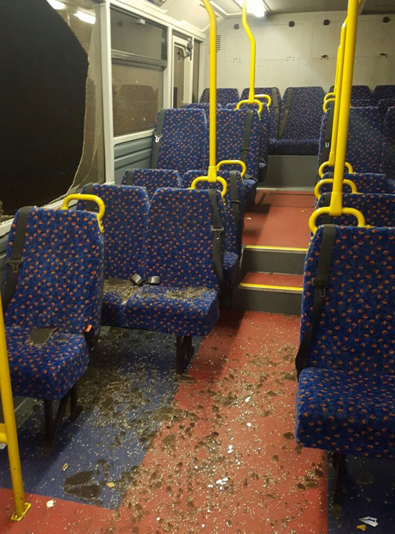 The damage caused to the bus