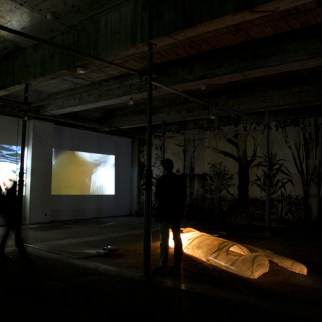 Present, 2014, digital video projection. Dolly, 2014, digital video projection, First, 2007, fiberglass, 430 x 120 cm.