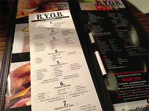 Menu (including a Build Your Own Burger BYOB) section at Soda Jerks!