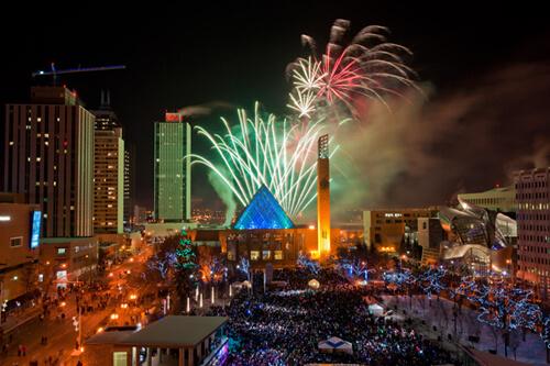 Fireworks at Churchill Square. Courtesy: Anthony P. Jones via www.photos.edmonton.ca.