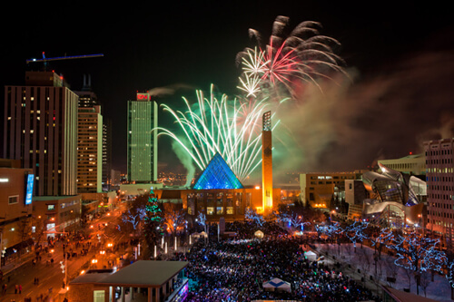 Fireworks at Churchill Square. Courtesy: Anthony P. Jones via www.photos.edmonton.ca.