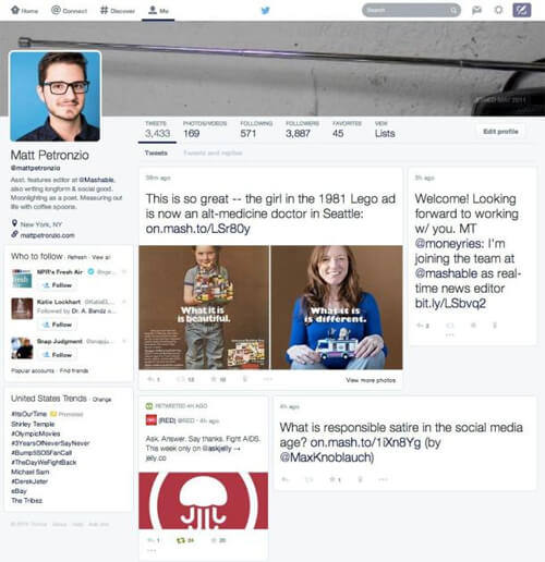 Twitter is apparently testing a Facebook-like redesign. Photo Credit: Mashable