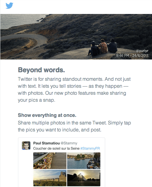 Twitter is really putting the emphasis on photo-sharing. (Photo credit: Techcrunch)