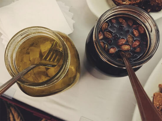 Pickled Sugar-Plum Prunes and Feta Cheese.