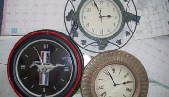 photo of various clocks and calendars