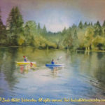 "McKenzie River Inspirations : On the Water, Watercolor painting of two people kayaking on a lake by Linda Abblett. Originla 11"" x 15"" $575"