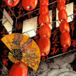 """Travels Collection : Watercolor painting of red luminaries hung high in a building in Hong Kong with carved stone Oriental dragons and a large Oriental fan by Linda Abblett. Original 15"""" x 22"""" $900; giclee sam size as original $130"""