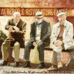 "Travels Collection : Passing Time, Watercolor painting of three old men sitting on a bench in Italy by LInda Abblett. Original 22"" x 15"" $900; giclee 20"" x 15"" $120"