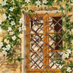 "Travels Collection : Peek at Volpaia, Painting of an Italian window surrounded by a vine with white flowers in bloom by Linda Abblett. Original 22"" x 15"" 800"