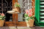 """Travels Collection : Posies of Panzano, Watercolor Paintings by Linda Abblett : Watercolor painting of flower pots and flowers planted in an old pot sitting outside a window in Italy. Original 22"""" x 15"""" $900; giclee same size as original $130"""