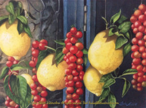 New paintings: Sweet and Sour in Sorrento, 15x11 original watercolor. $500. Giclee $90 Inspired by travels in Italy. I loved the contrast of the yellow and red when I saw this fruit hanging on a road side shed. Watercolor painting by Linda Abblett.