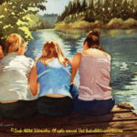 """McKenzie River Inspirations : Tres Amigas, Watercolor painting of three girls sitting on a dock by the McKenzie River by Linda Abblett. Original 15"""" x 11"""" $650"""