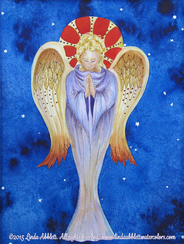 Angel Painting : Praying Angel, 11 x 14 watercolor and ink collage by Linda Abblett Watercolors, November 2015