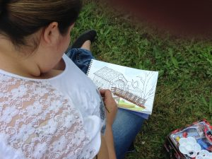 First Plein Air Outing for Linda Abblett's Art Students!: A fabulous plein air watercolor in progress!