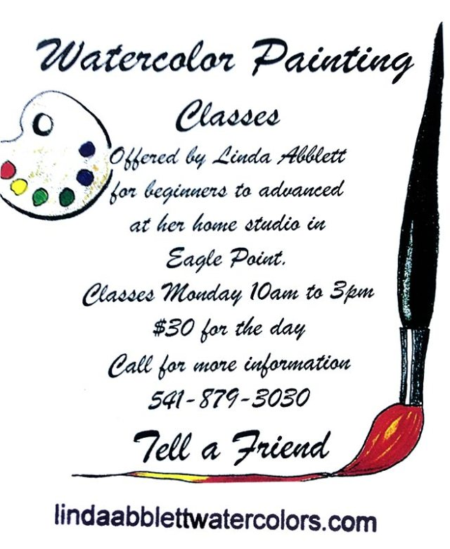 Watercolor Classes with LInda Abblett - image of watercolor class flyer