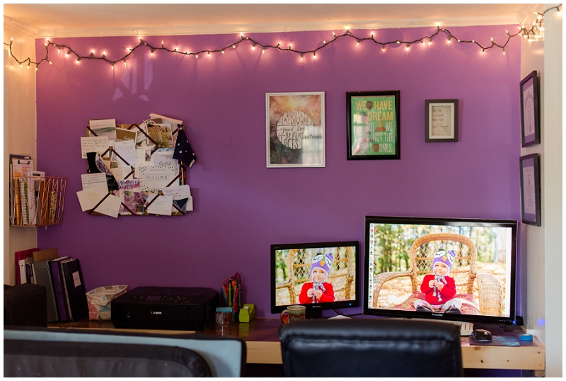 Office inspiration for a clean, simple, and tidy home office. Click here to see more by Linda Barry Photography! DIY floating desk.