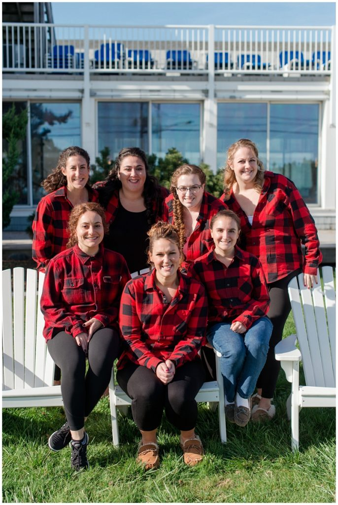 Melanie and Mike were married at Clay Hill Farm in Cape Neddick Maine. Click here to see more beautiful photos by Linda Barry Photography of their burgandy and navy wedding day! Matching flannel shirts for the bridesmaids as they get ready.