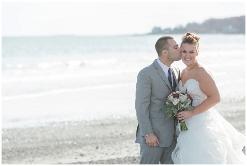 Melanie and Mike were married at Clay Hill Farm in Cape Neddick Maine. Click here to see more beautiful photos by Linda Barry Photography of their burgandy and navy wedding day! Bride and groom photos on York Beach.