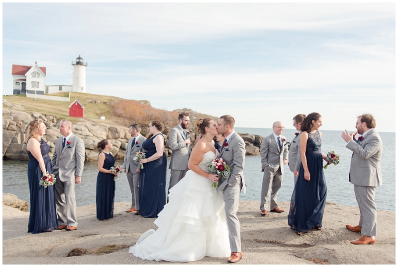 Melanie and Mike were married at Clay Hill Farm in Cape Neddick Maine. Click here to see more beautiful photos by Linda Barry Photography of their burgandy and navy wedding day! Lighthouse wedding party photos.