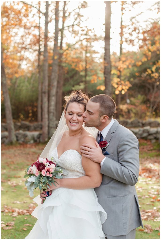 Melanie and Mike were married at Clay Hill Farm in Cape Neddick Maine. Click here to see more beautiful photos by Linda Barry Photography of their burgandy and navy wedding day! Bride and groom fall wedding photos.