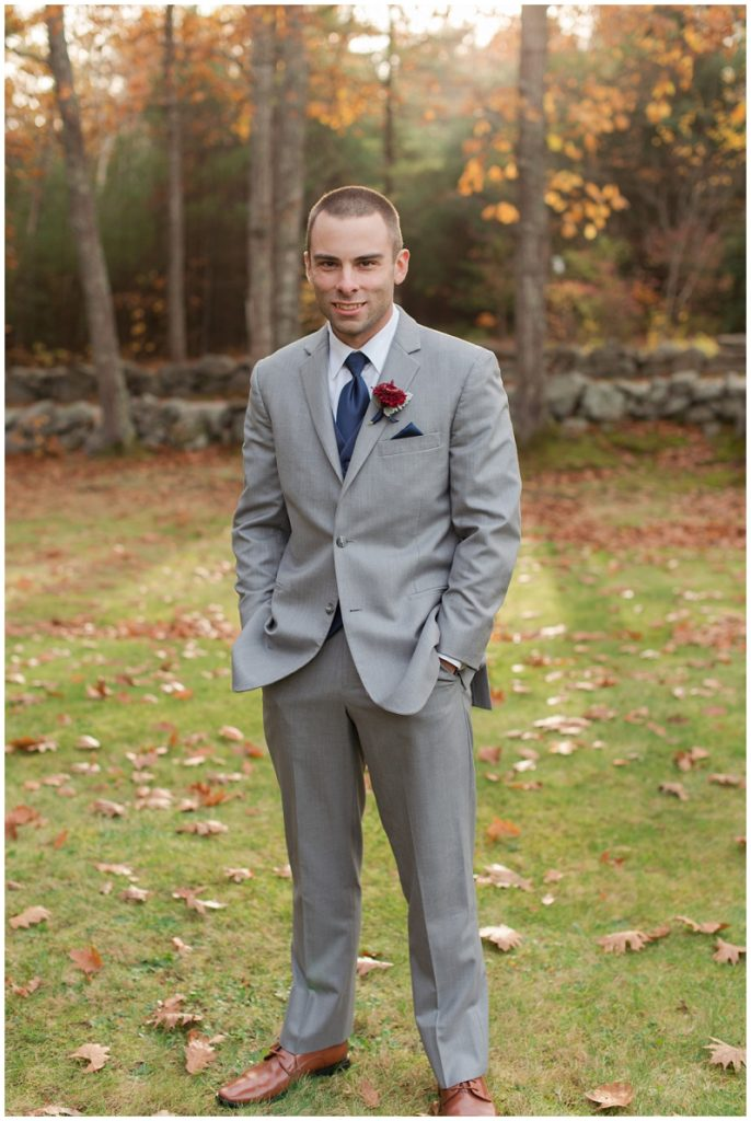 Melanie and Mike were married at Clay Hill Farm in Cape Neddick Maine. Click here to see more beautiful photos by Linda Barry Photography of their burgandy and navy wedding day! Groom portrait.