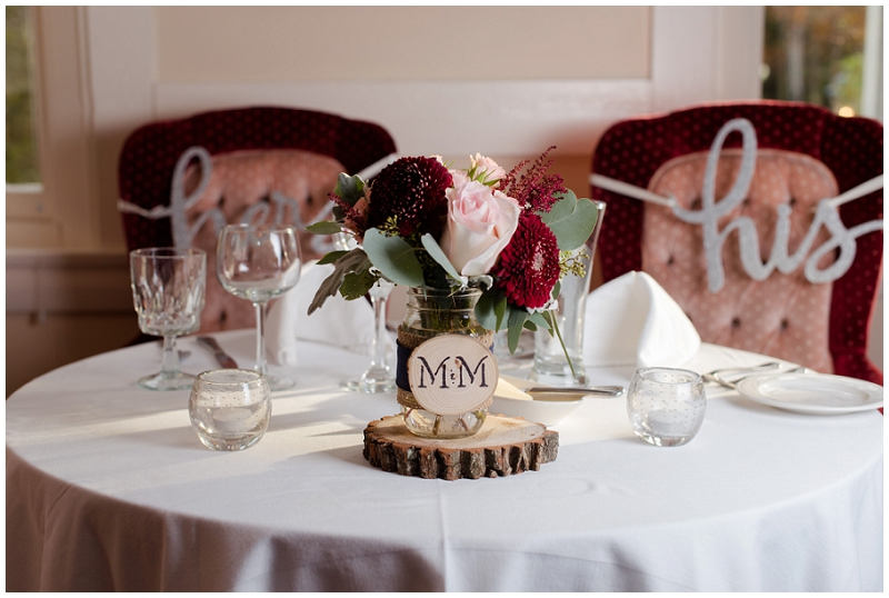 Melanie and Mike were married at Clay Hill Farm in Cape Neddick Maine. Click here to see more beautiful photos by Linda Barry Photography of their burgandy and navy wedding day! Sweetheart table.