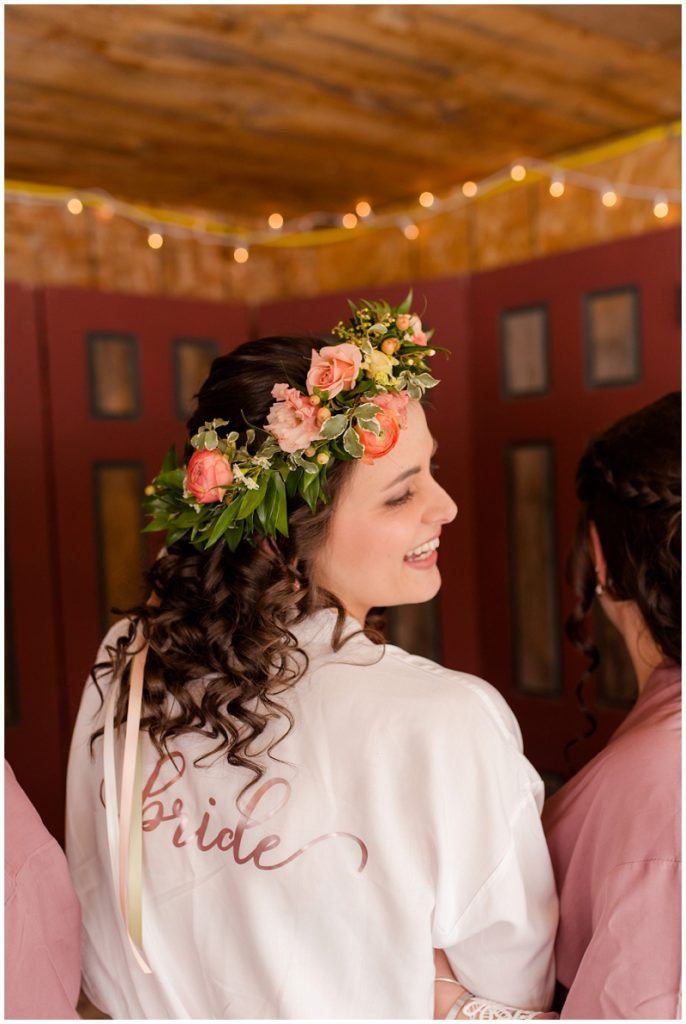 Emily and Nick were married at Stone Mountain Arts Center. Click here to see more wedding images by Linda Barry Photography. Personalized bride robe.