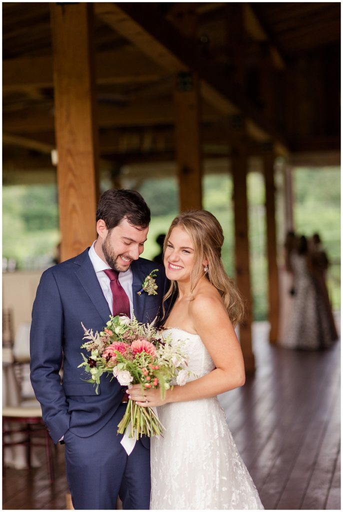 The bride and groom after their first look at the Barn at Gibbet Hill! Photos by Linda Barry Photography, a Boston based wedding photographer.