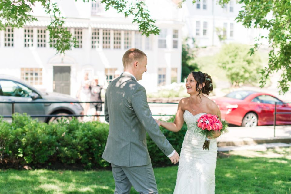 Erica and Tom's first look at York Harbor Inn!