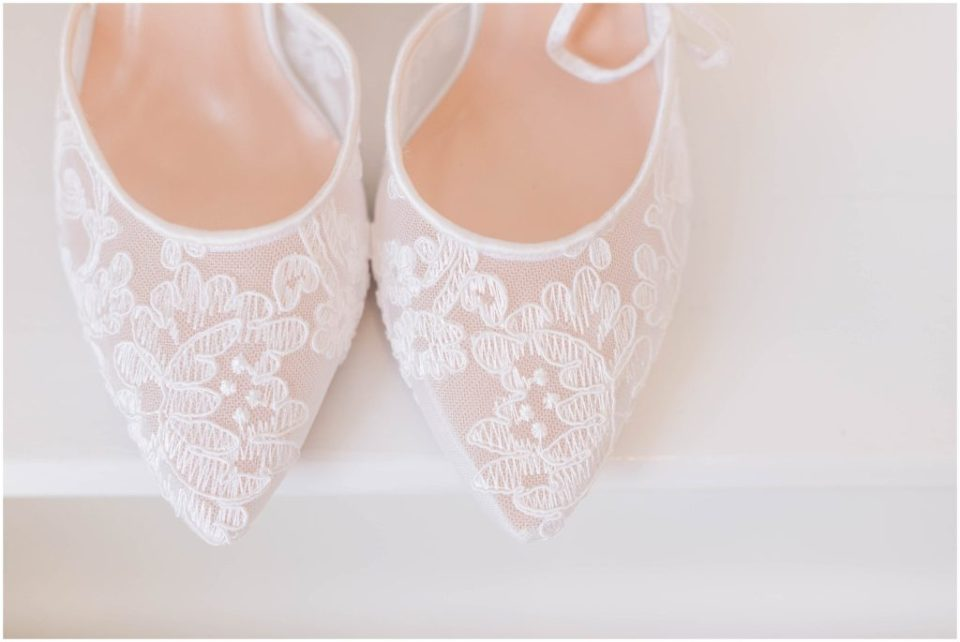Elegant, lacy bridal shoes at The Commons 1854 Styled Wedding shoot.
