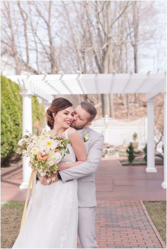 Outdoor portraits at The Commons 1854 with Alex and Iryne. Linda Barry is a Boston Wedding Photographer.