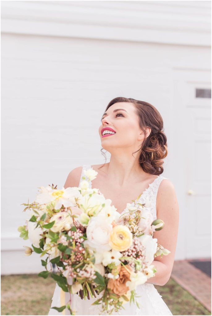Stunning spring bridal portrait by Linda Barry Photography. Taken at The Commons 1854.