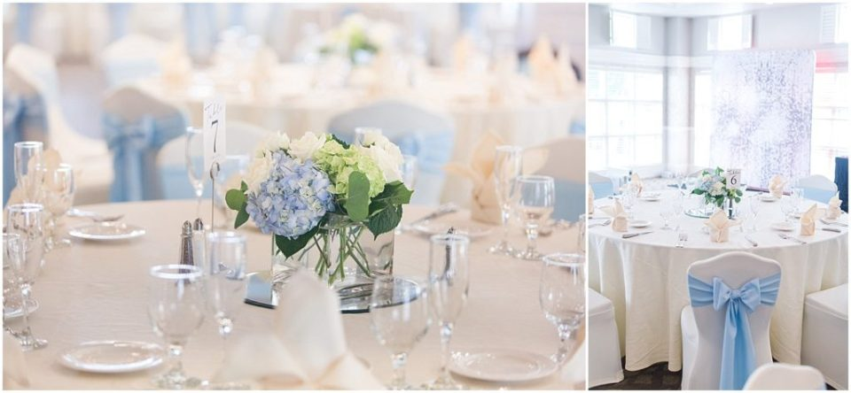 blue hydrangea centerpieces at The Woodlands Club.